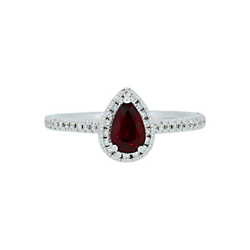 rubin tropfen entourage ring  karat weissgold mit diamanten